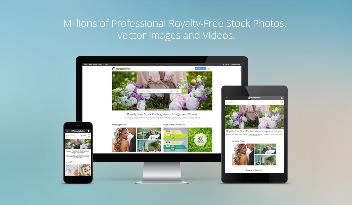 Millions of Media Assets on Depositphotos for Web and Mobile